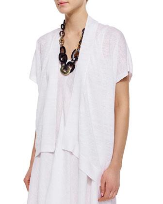 Short-Sleeve Organic Linen Cardigan