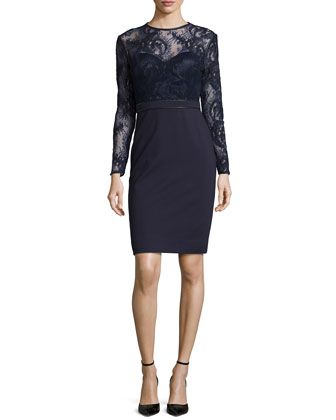 Vinita Lace-Bodice Dress, Midnight Navy