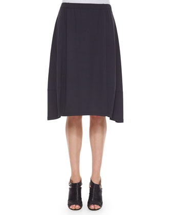 Knee-Length Jersey Lantern Skirt