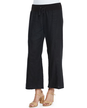 Wide-Leg Organic Linen Cropped Pants
