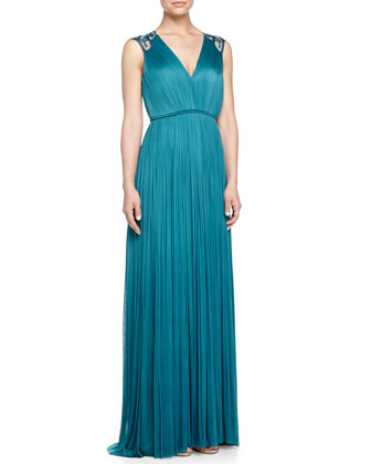 Warren Embroidered-Back Gown, Dragonfly