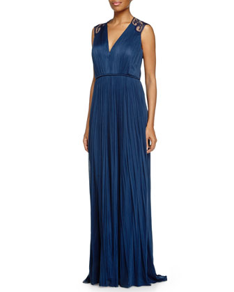 Warren Embroidered-Back Gown, Indigo