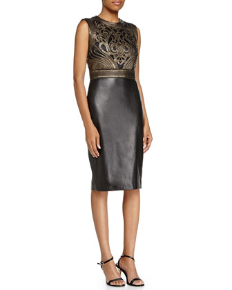 Wade Metallic-Bodice Leather Dress, Bronze/Black