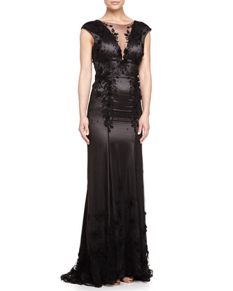 Embroidered Satin Gown, Dark Shadow