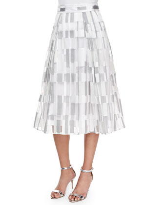 Ballet-Neck Fitted Top & Cubist Fil Coupe Pleated Midi Skirt