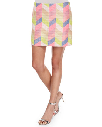 Candy Jeweled Floral Top & Couture Chevron Mini Skirt
