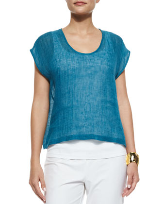 Linen Gauze Short Top, Organic Cotton Slim Tank, Maltinto Stripe Scarf & ...
