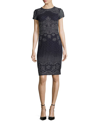 Embossed Short-Sleeve Dress, Midnight Navy