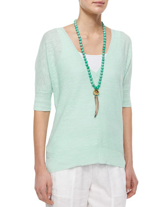 Half-Sleeve Slub Links Box Top, Women's