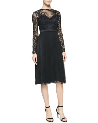 Long-Sleeve Lace Illusion-Bodice Cocktail Dress