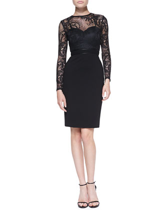 Vinita Long-Sleeve Lace Cocktail Dress