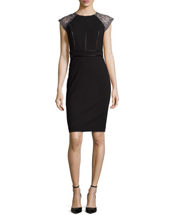 Vanya Jersey Dress with Leather Trim, Black