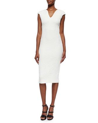 Sancha Floral-Jacquard Sheath Dress, White