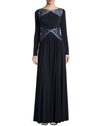 Vea Silk Jersey Gown, Midnight Navy