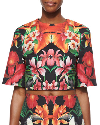 Tropical Toucan Printed Crop Top