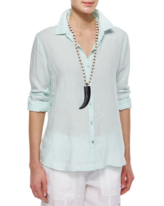 Long-Sleeve Button-Front Linen Shirt, Aurora, Petite