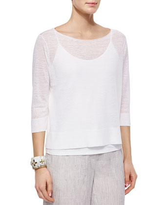 3/4-Sleeve Fine Linen Top