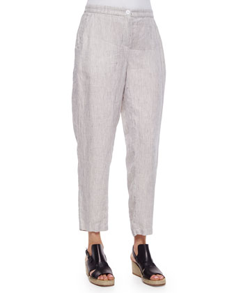 Slouchy Organic Linen Ankle Pants, Petite
