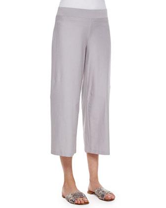 Wide-Leg Washable-Crepe Cropped Pants, Women's