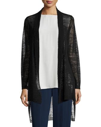 Shawl Collar Long Cardigan, Black, Petite