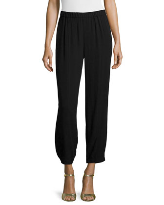 Wide-Leg Georgette Cropped Pants