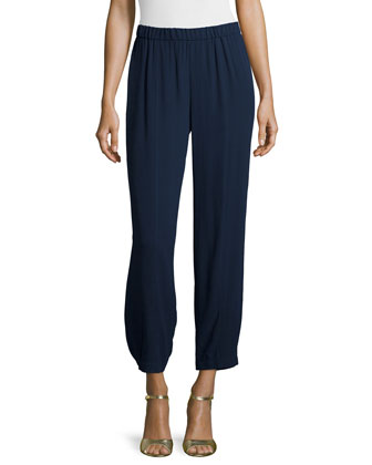 Wide-Leg Georgette Cropped Pants, Petite