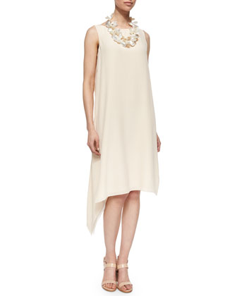 Sleeveless Silk Asymmetric Dress, Alabaster