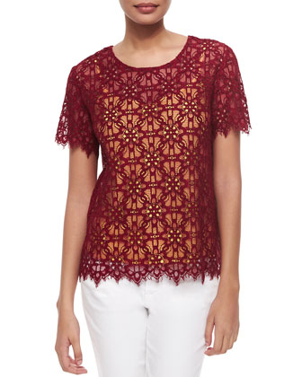 Short-Sleeve Lace Top W/ Contrast Top
