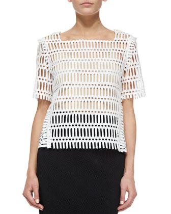 Short-Sleeve Eyelet Shirt & Textured Logo-Band Jersey Pencil Skirt