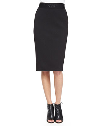 Short-Sleeve Eyelet Shirt & Textured Logo-Band Jersey Pencil Skirt