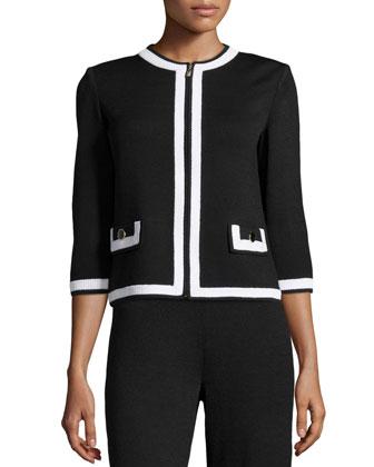 Santana Zip-Front Jacket, Black/White