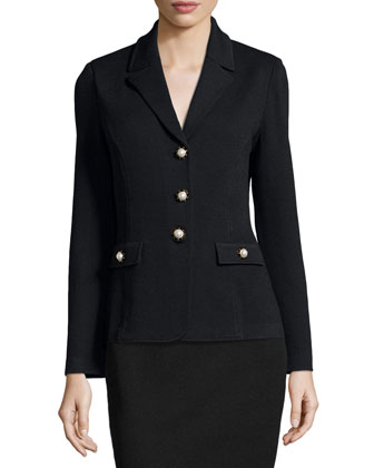 Santana Button-Front Knit Blazer, Black