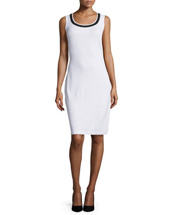 Santana Sleeveless Two-Tone Dress, Bright White/Navy