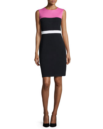 Sleeveless Colorblock Knit Dress, Peony/Black/Bright White