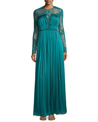 Venice Lace & Silk Gown, Everglade