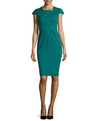 Jersey Square-Neck Dress, Everglade