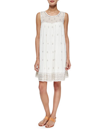 Mifan Sequin Woven Dress, White