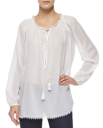 Cece Long-Sleeve Peasant Tunic