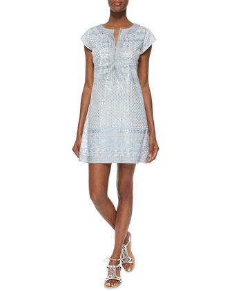 Ro Multipattern Caftan Dress, Powder Blue