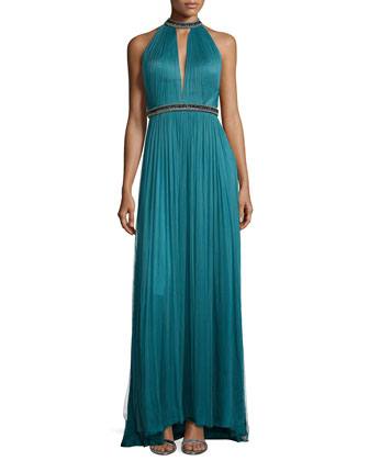 Bead-Trim Plisse Silk Gown, Dragonfly