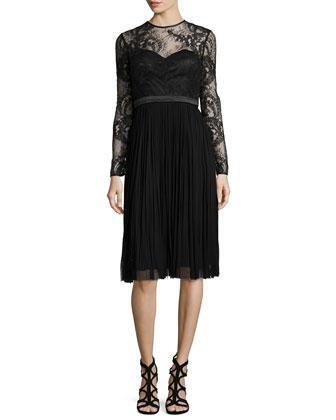 Lace-Bodice Waterfall Dress, Black