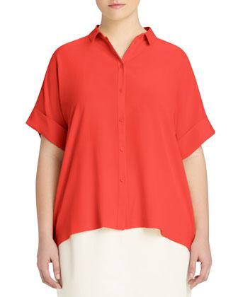 Britlee Short-Sleeve Silk Blouse, Women's