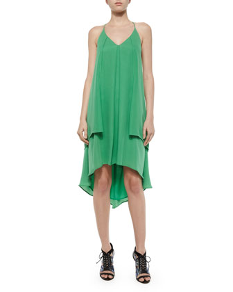 Lena Tiered Silk Halter Dress, Amazon Green