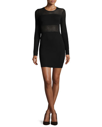 Sheer-Stripe Knit Cocktail Dress, Black