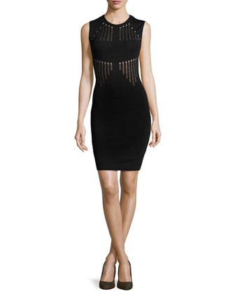 Vertical-Stripe Dress, Black/Nude