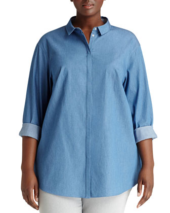 Sabira Denim Stretch Blouse, Women's