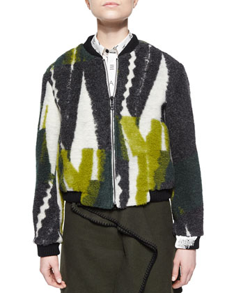 Collage-Print Fuzzy Knit Jacket