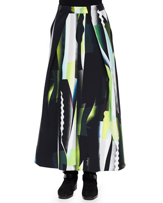 Collage-Pattern A-Line Maxi Skirt