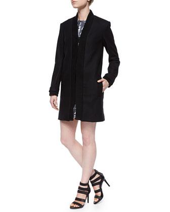 Ribbed-Trim Open Jacket & Symbols-Print Sequined Sleeveless Dress