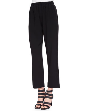 Mineral Printed Button-Front Top & Satin-Stripe Pull-On Pants